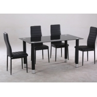 China Rectangle Modern Style Chinese Glass Dining Table And 4 Chairs on sale