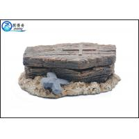 China Polyresin Fish Tank Ornaments Pneumatic Coffin Shaped With Skeleton Inside on sale