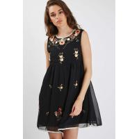 Sleeveless Short Womens Chiffon Formal Dresses Black Color Floral Embroidered Manufactures