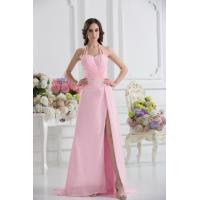 Sexy Halter Sweetheart A-line Floor Length Chiffon Pink Evening Party Gown Beads