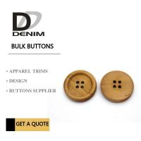 4 Holes Nature Wooden Buttons With Personalized Logo Raised Edge Light Weight Overcoat Manufactures