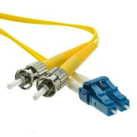 Quality 3.0mm PVC Jacket ST to LC Duplex Singlemode Fiber Optic Patch Cord in Yellow for sale