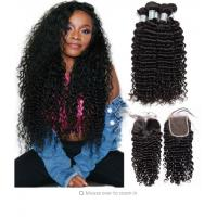 China Deep wave Peruvian Virgin Unprocessed Human Hair Bundles With Closure 4 By 4 on sale
