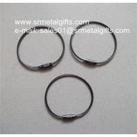 China Black nickel plated steel wire loop with screw nut for wire cable keyring on sale