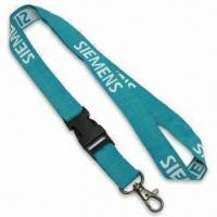 Lanyard with Black Plastic Detachable Buckle and One Color Logo Woven into Strap, Made of Polyester Manufactures