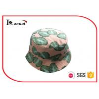 China Leaves Printed Personalized Bucket Hats , 60cm Head Circumference With Natural Cotton Lining on sale