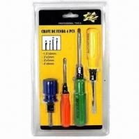 Screwdriver Set with Magnetic Hardened Tip and Chrome Vanadium Steel Shot Finished Shank