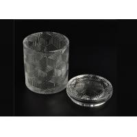 Exquisite Embossed Pattern Glass Candle Holders Bulk With Lids , Three Different Size Manufactures