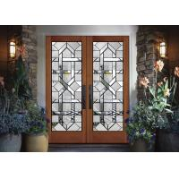 Interior Wood Doors Classical Art Glass Panels Thermal Sound Insulation Manufactures