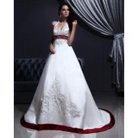 White Elegant Embroidered around the neck Wedding Dresses with Open back , Red Edge Manufactures