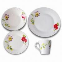 16-piece Porcelain Dinnerware Set with Customized Decal Design, Color Box Packing per Set Manufactures