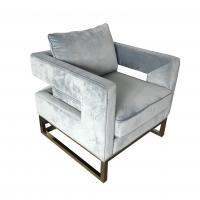 Hot sale blue velvet fabric sofa with gold metal base,wedding event rental furniture 1-seater sofa,living room sofa Manufactures