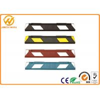 China Car Rubber Wheel Stopper with Yellow Reflective Tape Easy Installation. on sale