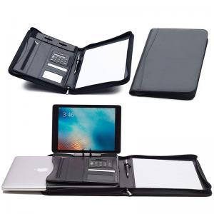 Faux Leather Business Portfolio Folder Classic Black With Solar Calculator Manufactures