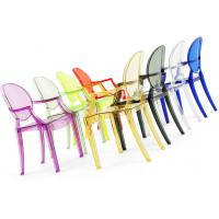 China Decorative Polycarbonate Chair With Armrest Clear Louis Ghost Chair on sale