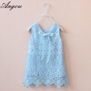 Quality Agnou Summer Lace Vest Girls Dress Baby Girl Princess Dress Chlidren Clothes for sale