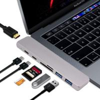 China 7in1 USB Dual Type-C Hub to Adapter 4K HDMI For MacBook Pro Thunderbolt 3 port USB-C port charging docking on sale