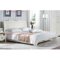 Neoclassical style Bed furniture by Rubber solid wood in Pure white color from Italy design Manufactures