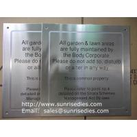 Satin brush stainless steel sign plaque, black enamel brushed S.S. sign plate Manufactures