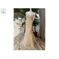 Short Sleeve Champagne Trumpet Prom Dress Lace Flowers With Beads Tulle Train Manufactures