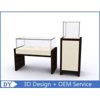 OEM MDF Square Rectangle Pedestal Display Case With Lighting / Glass Display Cabinet Manufactures