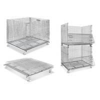 China Stackable Collapsible Wire Mesh Containers / Logistics Wire Metal Pallet Cage on sale
