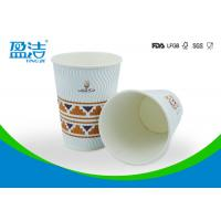 China OEM / ODM 12 OZ Disposable Coffee Cups With Black Or White PS Lid Available on sale