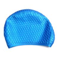 Blue Waterproof Silicone Swim Caps For Adults Customized Logo Printing Manufactures