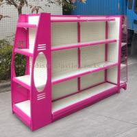 Multi Sizes 4 Levels Metal Gondola Shelving Double Side Display Racks Pink For Retail shop Manufactures