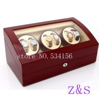 China 6+7 automatic wooden watch winder  r box watch case storage display watch box red color on sale