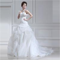 Long trail Tulle halter ruffled One Shoulder Wedding Gowns with Lotus Leaf Edge Manufactures