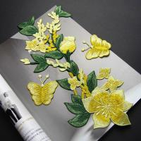 Yellow Flower Sew On Embroidered Patches Lace Appliques For Clothing 14 X 32 CM Manufactures