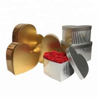 Gold / Silver Cylinder Chipboard Gift Boxes For Flower Packaging Heart Shaped Manufactures