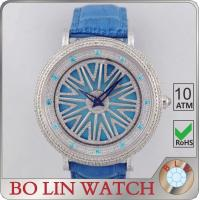 Italy Genuine Leather Strap Diamond Quartz Watches For Men Lucky Turning Style Manufactures