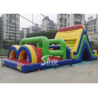 Outdoor big rainbow kids bounce inflatable obstacle course for commercial use Manufactures