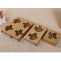China Durable Takeaway Food Packaging Kraft Paper Cup Holder For Two Bubble Tea Cups on sale