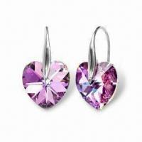 Swarovski Earrings, Made of Silver, Suitable for Bride, Handmade with Crystal Stone Manufactures