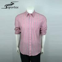 Red And White Stripes Mens Outdoor Shirts 100% Cotton Materials High Grade Manufactures