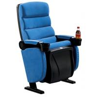 China Blue Fabric PP Theater Seating Chairs Movable Armrest Iron Metal Type on sale