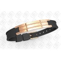 18K Rose Gold Stainless Steel Bracelets With Grooved Negative Ion Germanium Manufactures