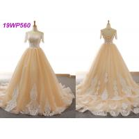 Nude Tulle Multi Colored Wedding Gowns With 3/4 Sleeve Sexy Vintage Appliques Manufactures