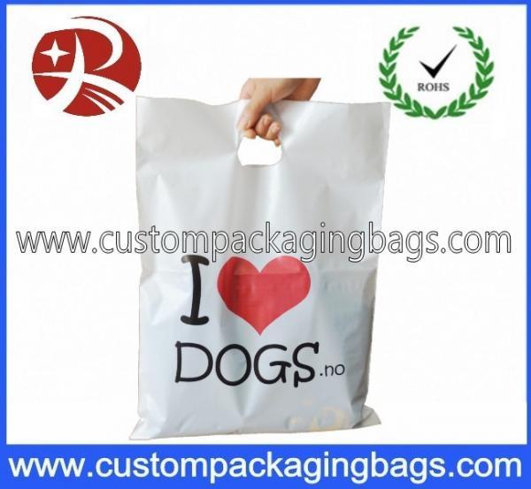 Quality Biodegradable PO Die Cut Handle Plastic Bags For Clothes Shop for sale