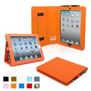 iPad 4 & iPad 3 Case - PU Leather Case Cover Orange Manufactures