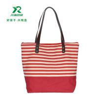 China Manufacturer eco-friendly cheap customized canvas bag fashion shoulder bag canvas stripe  shopping bag on sale