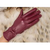 Basic Fashion Multi Color Custom Girls Leather Gloves with Nice Bow Wine Red / Black / Brown Manufactures