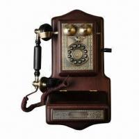 China Wooden Wall Phone with Magneto Generator Inner and Separate Ringer Box on sale