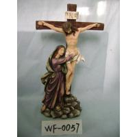 China Religious Polyresin Figurine Matte Finish With Jesus On Cross 12 Inches on sale