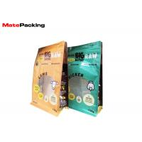 Food Grade Flat Bottom Pet Food Packaging Bags With Zipper / Clear Window Manufactures