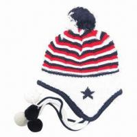 Chullo with Earflap and Pompom on Top, String and Pompom Under Manufactures