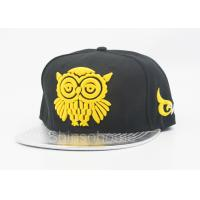 Quality Fashion Acrylic And Leather Flat Bill Hats With Yellow Logo , Summer Baseball Cap for sale